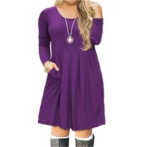 Casual Long Sleeve Pleated T Shirt Dress with Pock